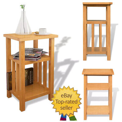 Small Oak Side Plant Table | Solid Wood Display Telephone/Lamp/Bedside/End Stand