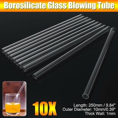 10Pcs 250mm OD 10mm 1mm Thick Wall Borosilicate Glass Blowing Tube Lab Glassware