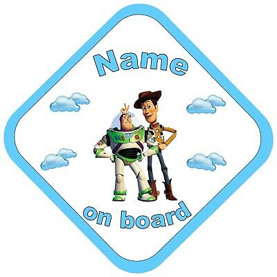 PersonalisedToy StoryBaby / child on Board Car Window Sign - Woody & Buzz