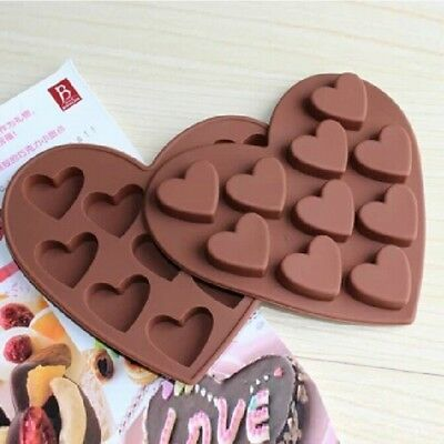 10x Heart Shaped Silicone Mold Cake Baking Mold Chocolate Ice Jelly More Helpful