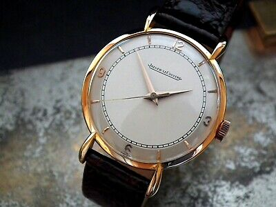 Late 1940's Solid 18ct Oversize Rose Gold Jaeger LeCoultre Gents Vintage Watch