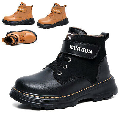 Uk Kids Ankle Boots Girls Boys Fur Lined Grip Army Combat Winter Snow Shoes Size