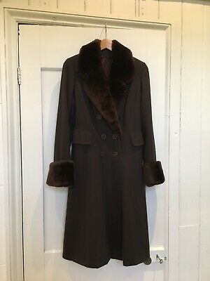 Vintage 1960s 1970s Brown Coat With Faux Furs Cuffs And Collar