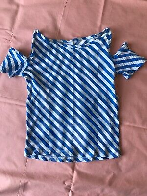 Zara girls stripe cold shoulder T-shirt 10 years old in excellent conditions