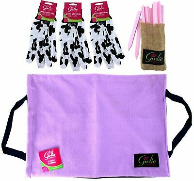 Lilac Fleece KNEELER CUSHION COVER + Gloves + Wooden Plant Labels GARDENING gift