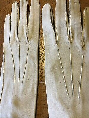 Vintage Long 3 Button Pale Grey Kid Leather Evening Opera Gloves Size 6 1/2