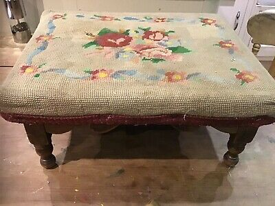 Victorian antique Tapestry Top  FOOT STOOL