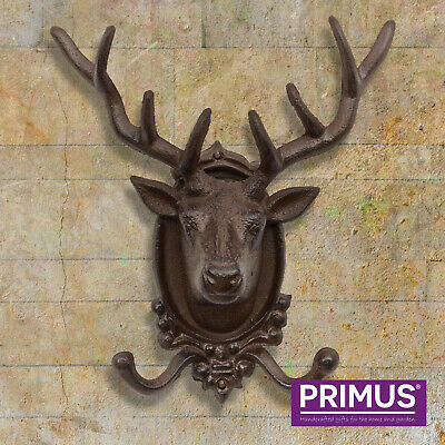 Primus Cast Iron Coat Hook Stag Head Antique Style 2 Hooks Wall Mounted Rustic