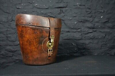 Antique Leather Tall Top Hat Case ~ Decorative Storage ~ Country House Decor