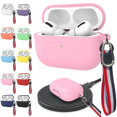 For Apple AirPods Pro Wireless Earphone 2019 Silicone Skin Case Cover with Strap