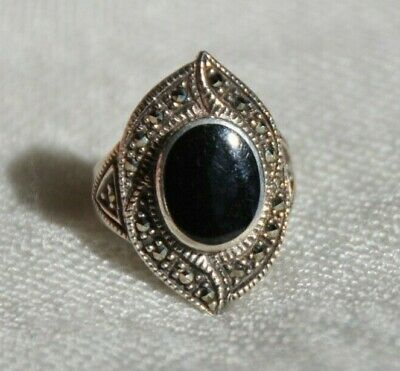 Vtg Sterling Silver Art Deco Style Black Onyx Marcasite Ring, Size 7 1/4, Nd 925