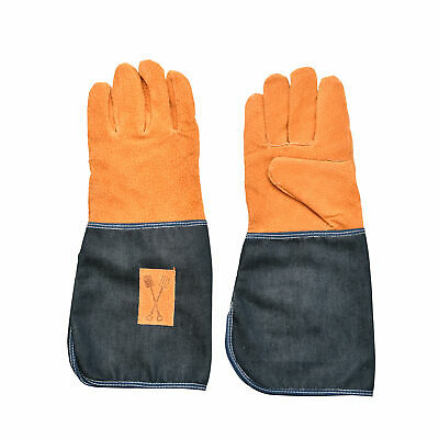 Pair of Gauntlet Long Cuff Gardening Pruning DIY Gloves Denim with Faux Leather