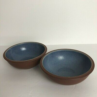 Denby Langley Juice Berry Set of 2 Soup Cereal Bowls Blue Terra Cotta 7""