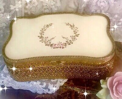 Antique Victorian ORMOLU Dresser Box JEWELRY CASKET Handpainted SILK Under Glass