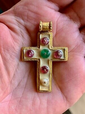 Byzantine Gold Cross Pendant with enamel, emerald, rubies and pearl.Magnificent!