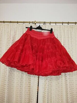 """Red Sparkly Organza Petticoat 22"""" Long  Size 12-16 1950's Rockabilly"""