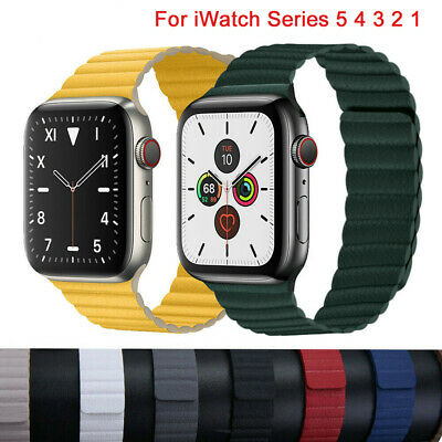 Leather Loop Magnetic Band Bracelet Strap For Apple Watch Series 5 4 3 2 40/44mm