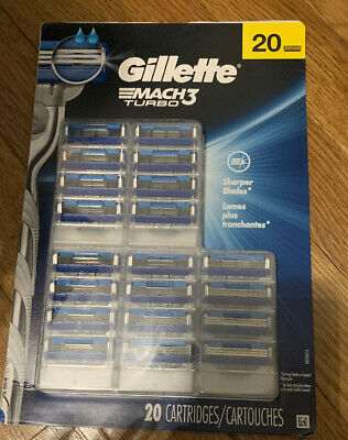 New Gillette Mach3 Turbo Cartridges 20 Count Blades - Guaranteed 100% Authentic!