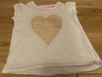 Cute Light Pink Girls Young Dimensions Sequin Heart Tshirt 3-4 Years