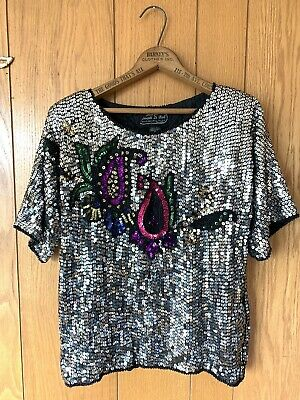 Vintage Joseph Le Bon Womans Sm Multi Color Silver Sequin Beaded Silk Formal Top