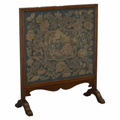 Lovely French Napoleon Iii Oak Fire Screen With Embroidered Scene Courting Pair