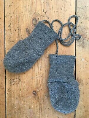 Disana Merino Wool Grey Baby Mittens With String 5-12 Months/Size 1