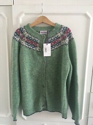 Brora Girl's Green Fair Isle Cardigan Age 9-10 Bnwt