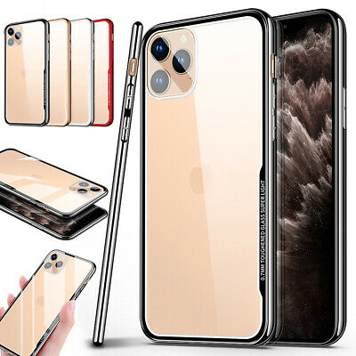 For Apple iPhone 11 Pro Max Plating Clear Tempered Glass Back Rugged Case Cover