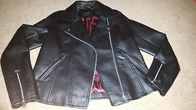 Ladies / Girls Faux Leather Biker Jacket, Matalan, Size 10, Excellent Condition