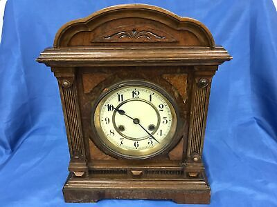 Antique Wooden Edwardian Style Junghans Chiming Mantel Clock Working #944