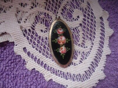 Antique/VTG Guilloche Enamel Black Pink florals n leaves Perfume Scent Bottle