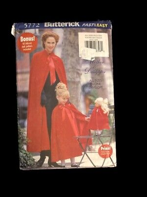 BUTTERICK Pattern 5772 Misses Girls Doll Cape & Muff all sizes  Uncut