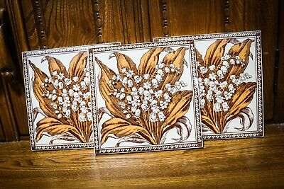 Antique Victorian - Floral Ceramic Fireplace Tiles - Rare & Unique - Bundle X 3