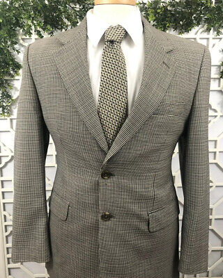 Chaps Ralph Lauren Brown Houndstooth Blazer Suit Jacket Slim Fit Size 38S