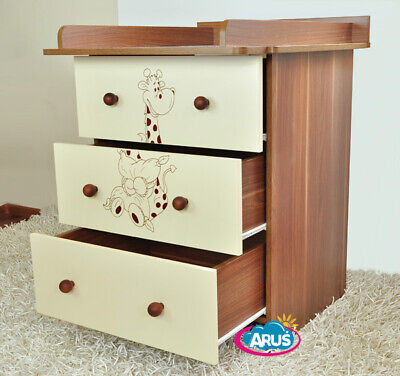 Chest of drawers with changing table / model MIKI / walnut/cream with giraffe
