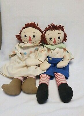 Antique Early Vtg Old Primitive Cloth Rag Doll Pair ~ 1940's Raggedy Ann & Andy