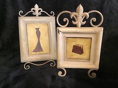 "Pair Of Metal Fleur De Lis Picture Frames Set 5"" X 7"" & 4.5"" Square Easel Style"