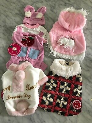 NWT Quality Dog Cat Clothing Lot Of 4 XS Jacket Raincoat Christmas Coat Lot B
