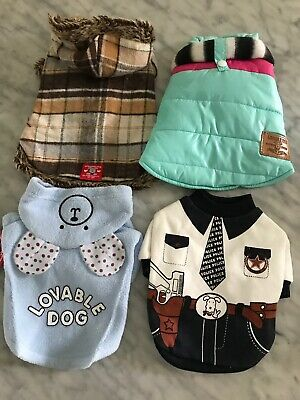 NWT Quality Dog Cat Clothing Lot Of 4 XS Jacket Raincoat Christmas Coat Lot C