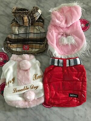 NWT Quality Dog Cat Clothing Lot Of 4 XS Jacket Raincoat Christmas Coat Lot F