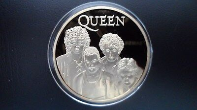 QUEEN - Freddie Mercury/May/Deakin Silver plated commemorative coin in capsule