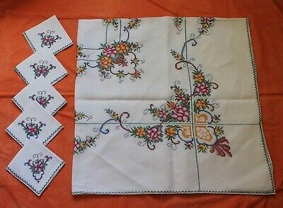 Vintage Linen Embroidered Floral Cross Stitch Table Cloth + 6 Napkins