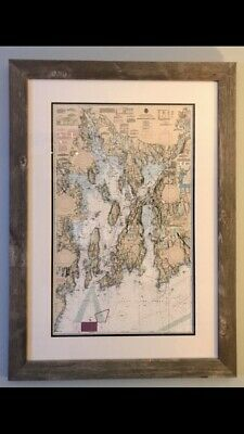 Framed Narragansett Bay Nautical Chart  (New Reproduction Print  ) NOT antique