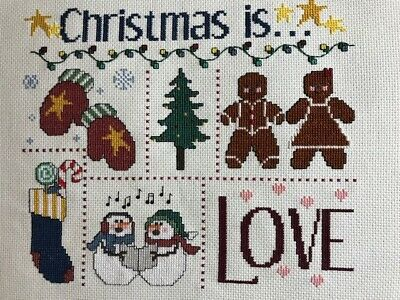 Completed finished cross stitch Christmas is love
