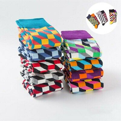 Socks Mens Gifts Casual Wedding Colorful Argyle Happy Combed Cotton Dress
