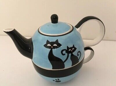 HuesNBrews Blue Teapot with Two Black Cats and Pawprints