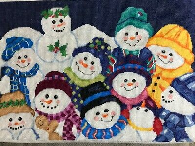 Completed finished cross stitch large Snowman gathering