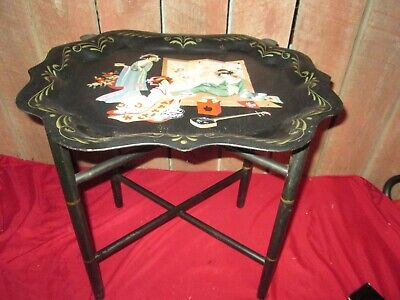 Vintage Black Metal Tray Coffee Table Toleware Folding Wooden Base Stand Asian