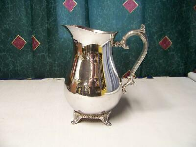 "Wm Rogers Silverplate 817 Water Drink 9"" Pitcher 4 Footed Shiny Lovely"
