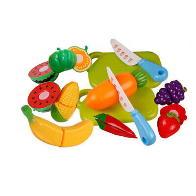 Kids Children Food Pretend Role Play Toys Kitchen Cutting Fruit Vegetable Toy